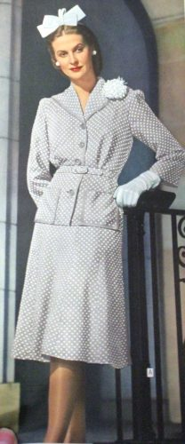 1944 grey suit dress dots hair bow 1