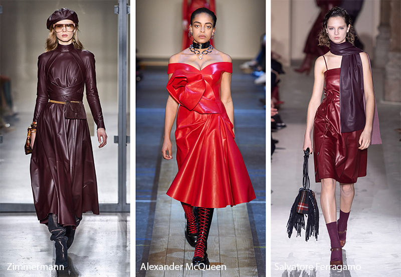 fall winter 2019 2020 fashion trends leather dresses